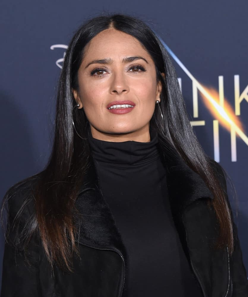 "Salma Hayek arrived for the ""A Wrinkle In Time"" World Premiere last February 26, 2018, in Hollywood with an all-black ensemble outfit to pair with her casual loose and tousled straight hair with highlights."