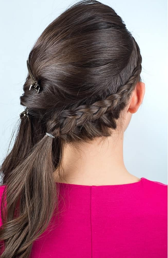 Step 4: Secure the french braid when you have reached the other side of your head