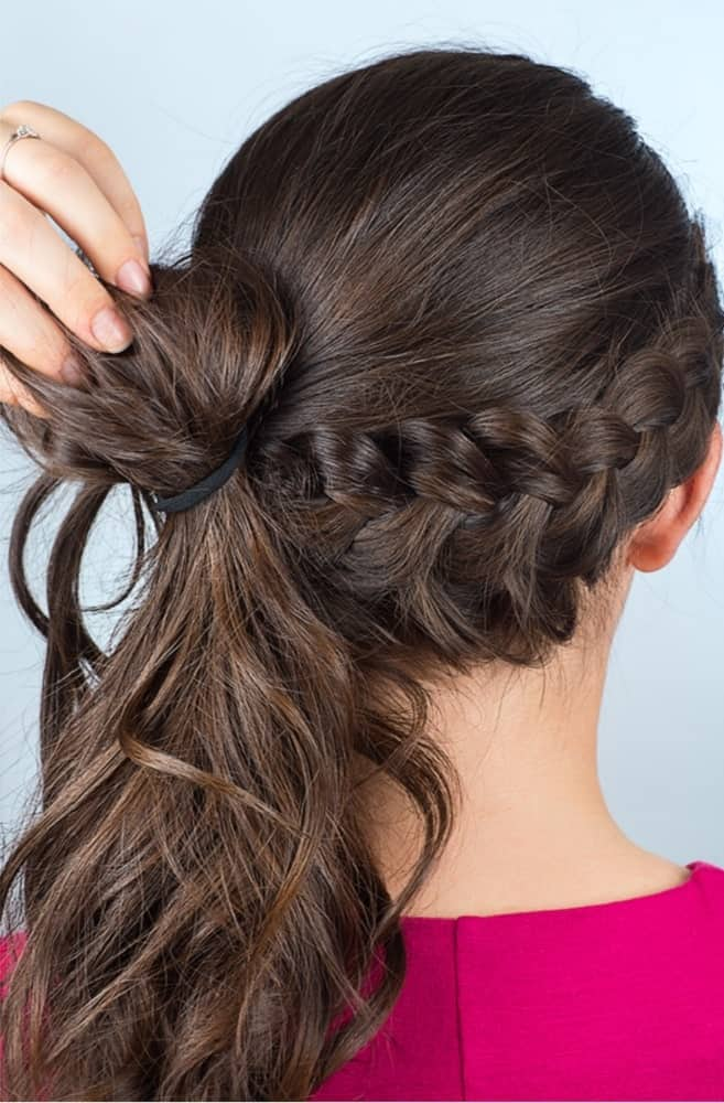 Step 6: Make a looped ponytail with the crown of your hair