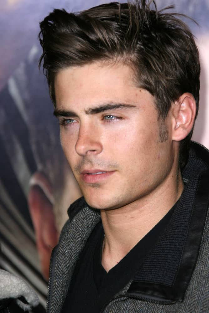 Zac Efron with a stylish hairstyle, attending the premiere of