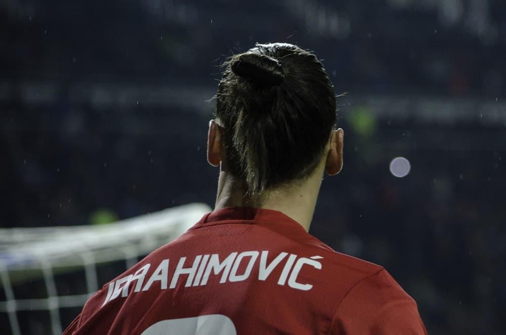 Back profile of Zlatan Ibrahimovic during the UEFA Europa League match between Zarya Lugansk vs Manchester United (Manchester, United Kingdom), Ukraine.
