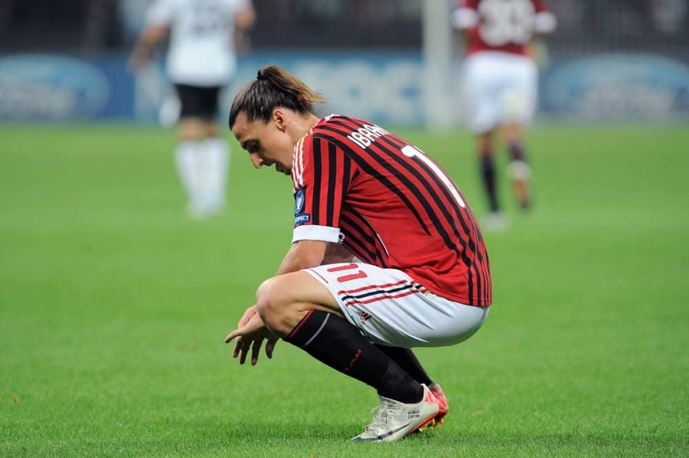 Zlatan Ibrahimovic during a soccer match in Milan, Italy.