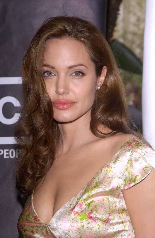Actress Angelina Jolie was at the Premiere Magazine 11th Annual Women in Hollywood Luncheon at the Four Seasons Hotel in Beverly Hills on September 14, 2004. She paired her lovely floral dress with a wavy long hairstyle with layers.