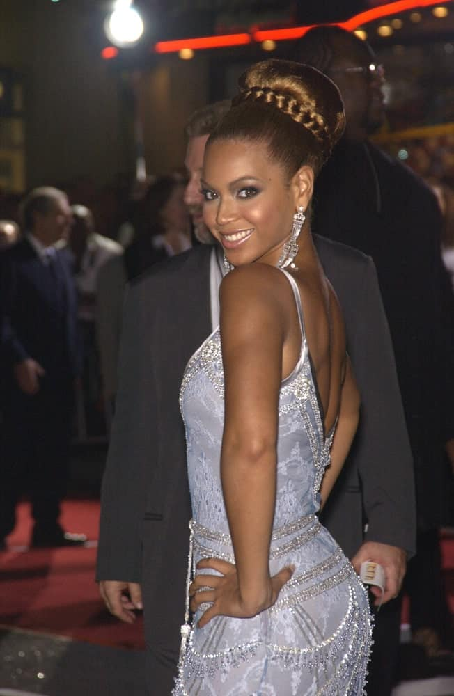 Beyonce Knowles pulled off a high braided bun during the Hollywood premiere of her new movie 'The Fighting Temptations' held on September 17, 2003.