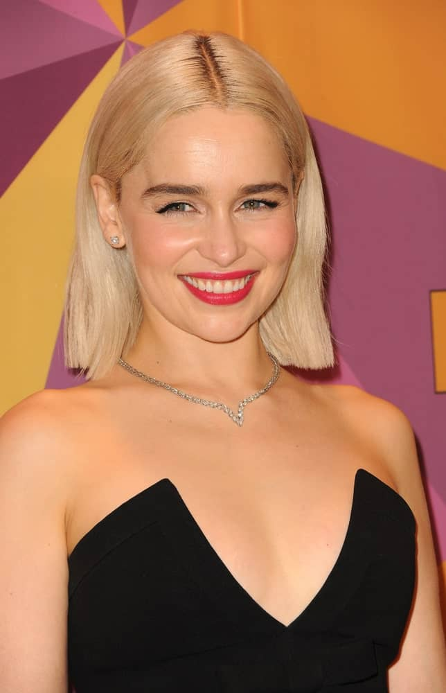 Emilia Clarke smiles at the HBO's 2018 Official Golden Globe Awards After Party held at the Circa 55 Restaurant in Beverly Hills, USA on January 7, 2018.
