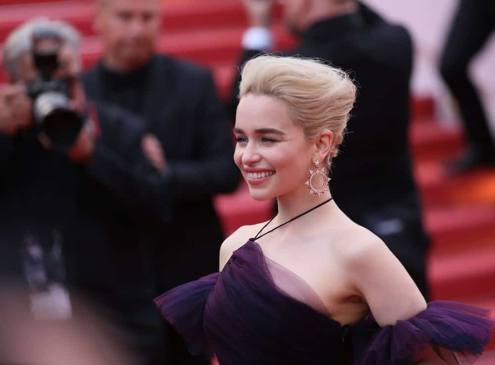 Emilia Clarke smiles at the screening of 'Solo: A Star Wars Story' during the 71st annual Cannes Film Festival at Palais des Festivals on May 15, 2018, in Cannes, France.