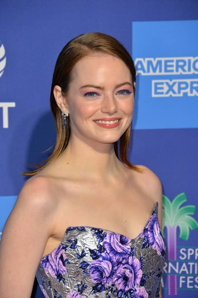 On January 03, 2019, Emma Stone wowed everyone with her stunning and colorful outfit that complemented her slick side-parted shoulder-length hair with highlights at the 2019 Palm Springs International Film Festival Awards.