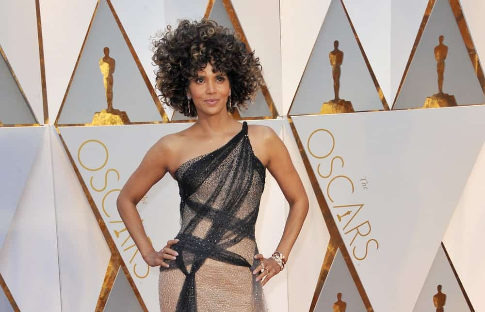 Halle Berry attended the 89th Annual Academy Awards held at the Hollywood and Highland Center in Hollywood on February 26, 2017. She wowed everyone with her stunning dress and highlighted a curly afro hairstyle.