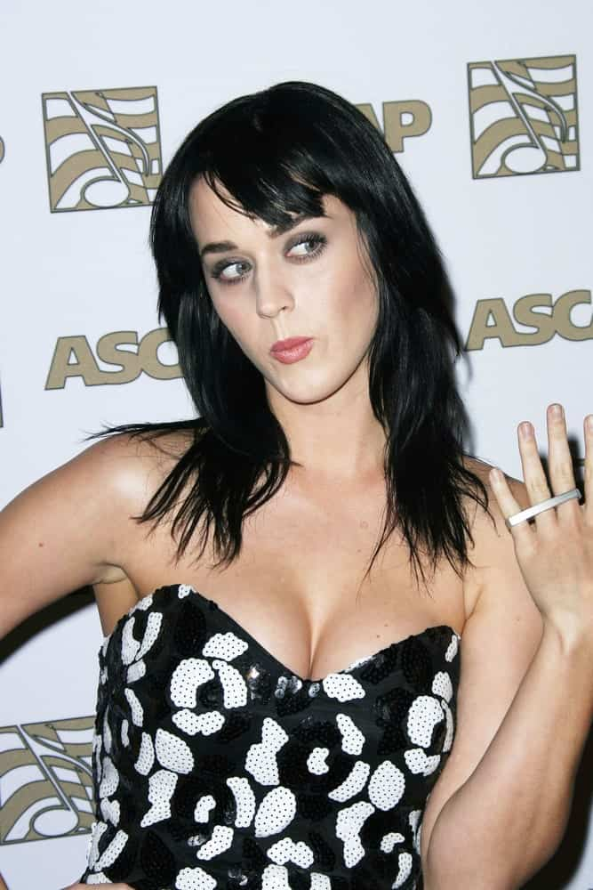 Katy Perry with her jet black layered hair and side-swept bangs at the ASCAP Awards held at the Kodak Theater in Hollywood on April 9, 2008.