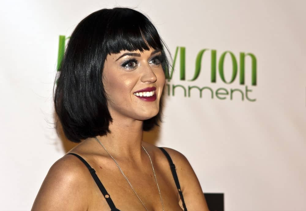 Katy Perry had thick bob cut with eye skimming bangs at the Gridlock 2008/2009 New Years Eve party at Paramount Studios on December 31, 2008.