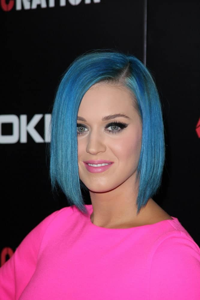 Katy Perry contrasts her vibrant pink dress with a blue side-parted bob cut at the 2012 ROC Nation Pre- Grammy Brunch held at Soho House, West Hollywood, CA on February 11, 2012.