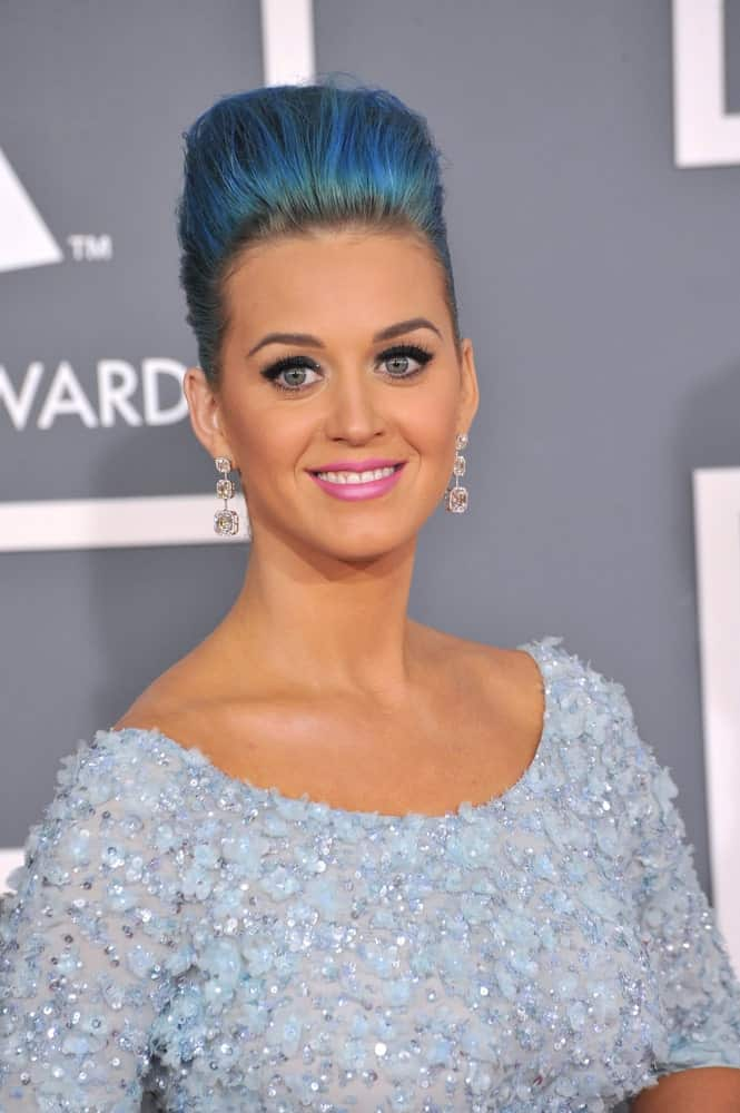 Katy Perry rocked an ocean blue pompadour updo during the 54th Annual Grammy Awards at the Staples Centre, Los Angeles on February 12, 2012.