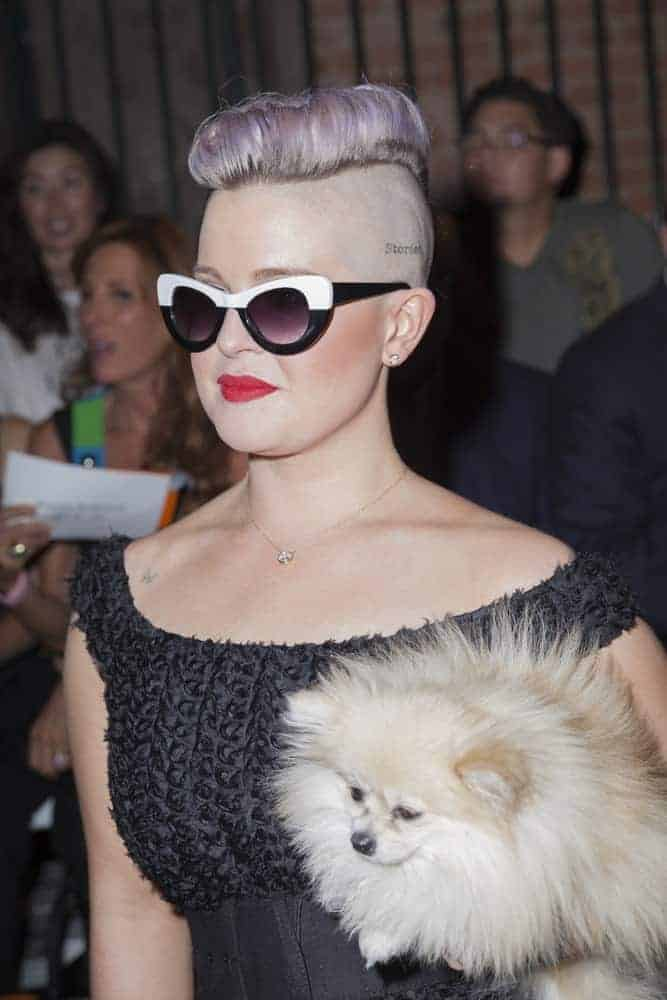 Kelly Osbourne, looking as gorgeous as ever, carrying her dog during the New York Fashion week Spring/Summer 2017, September 10 at Art Beam.