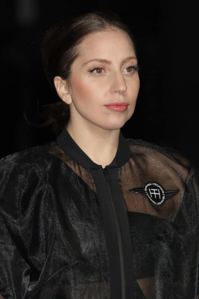 Lady Gaga wowed everyone with her simple make-up, sheer black outfit and raven low ponytail when she attended the record release party event for 'ARTPOP' at the Brooklyn Navy Yard on November 10, 2013, in New York.
