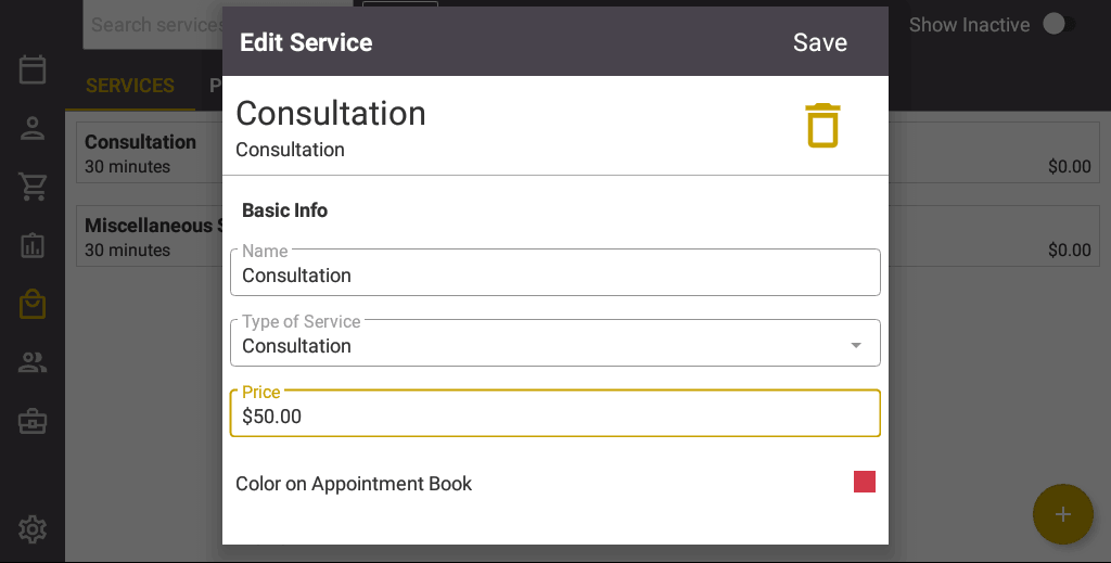Screenshot of the Salon Iris Software Consultation Pricing.