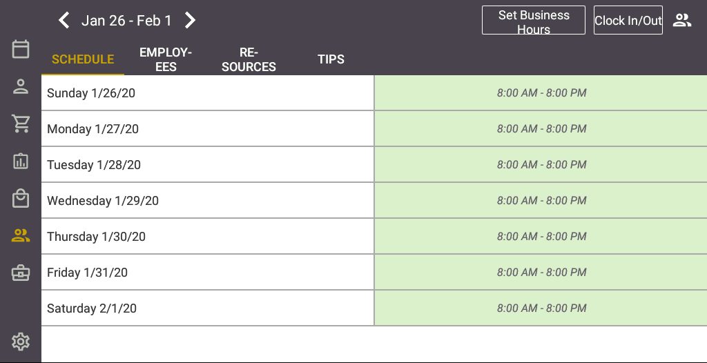 Screenshot of the Salon Iris Software Schedule Page.