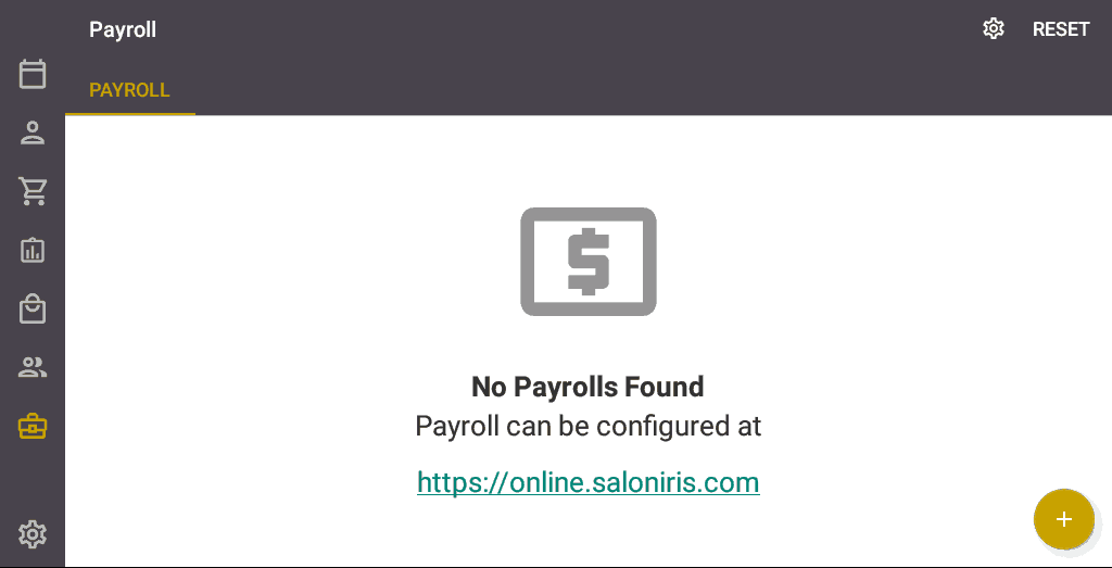 Screenshot of the Salon Iris Software Payroll.