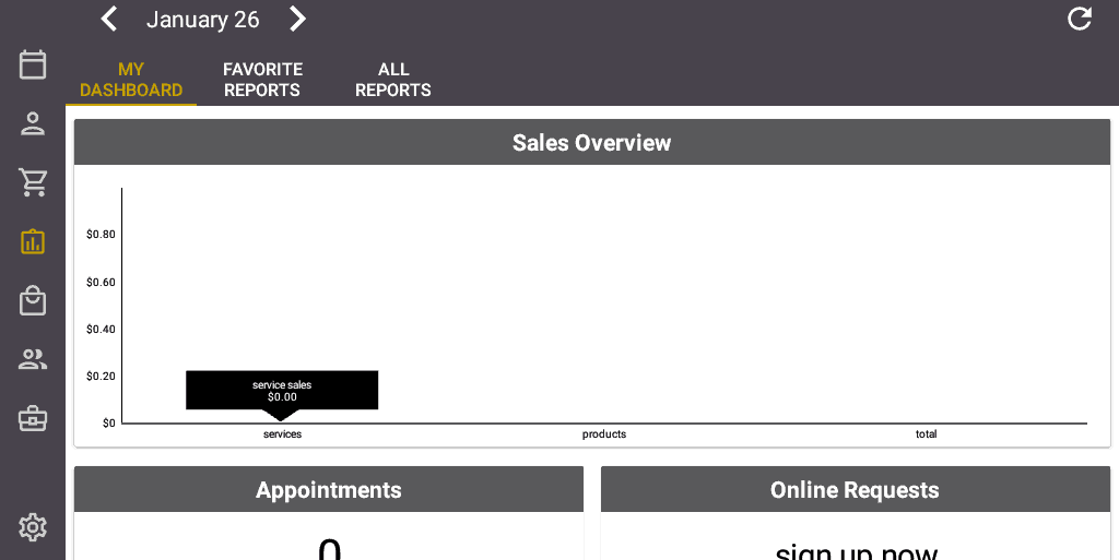 Screenshot of the Salon Iris Software My Dashboard.