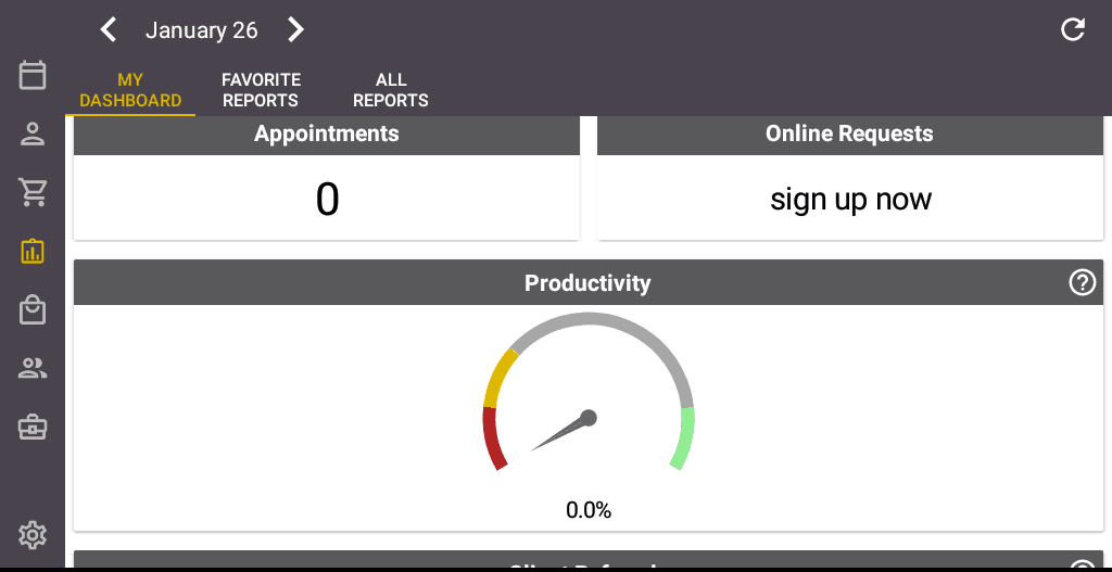 Screenshot of the Salon Iris Software Productivity.