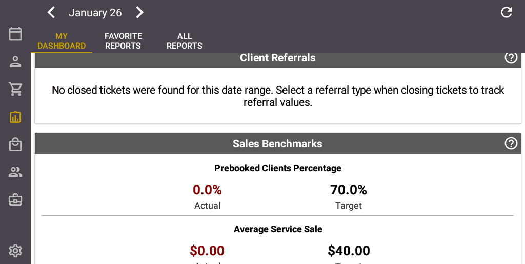 Screenshot of the Salon Iris Software Client Referrals.