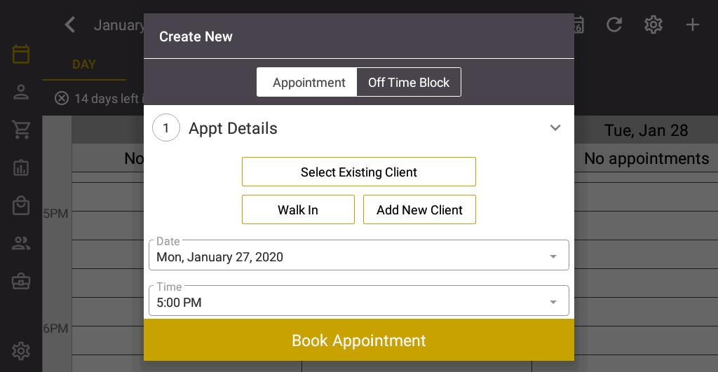 Screenshot of the Salon Iris Software Create New Appointment.