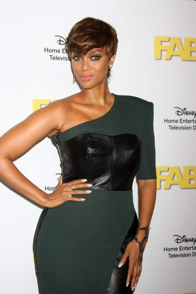 Tyra Banks' beautiful pixie cut hairstyle with a wavy side-swept hairstyle at the ABC TCA Summer Press Tour 2015 Party at the Beverly Hilton Hotel on August 4, 2015, in Beverly Hills, CA.