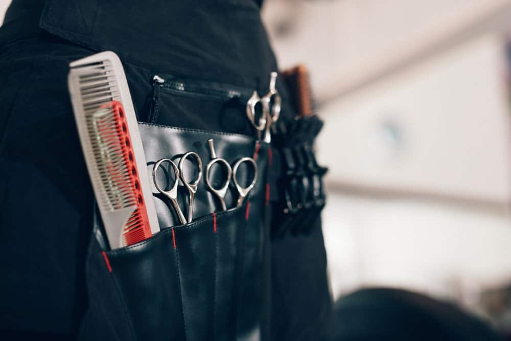 A hairdresser's utility belt in black leather.