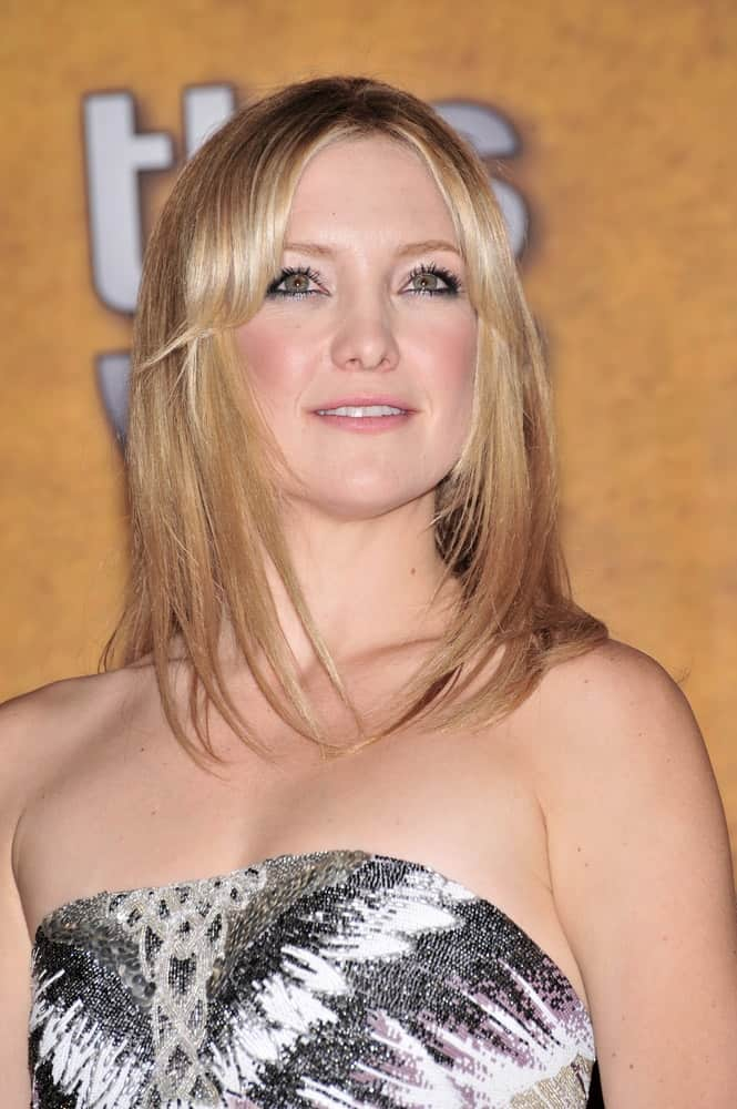 Kate Hudson's stunning strapless dress went quite well with her loose and straight blond layers at the 14th Annual Screen Actors Guild Awards at the Shrine Auditorium in Los Angeles, CA on January 27, 2008.