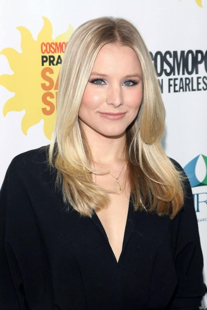 Kristen Bell looking pretty in a simple black dress that's paired with a long layered hairstyle during Cosmo's First Annual Practice Safe Sun Awards at The Hearst Tower, New York, NY last June 8, 2010.