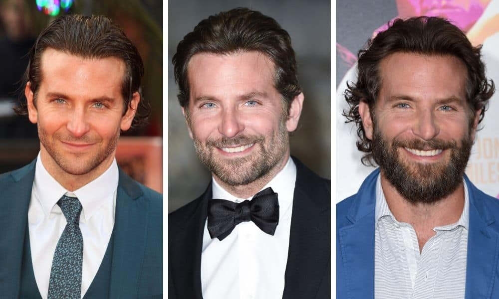 Bradley Cooper collage no beard, short beard, long beard