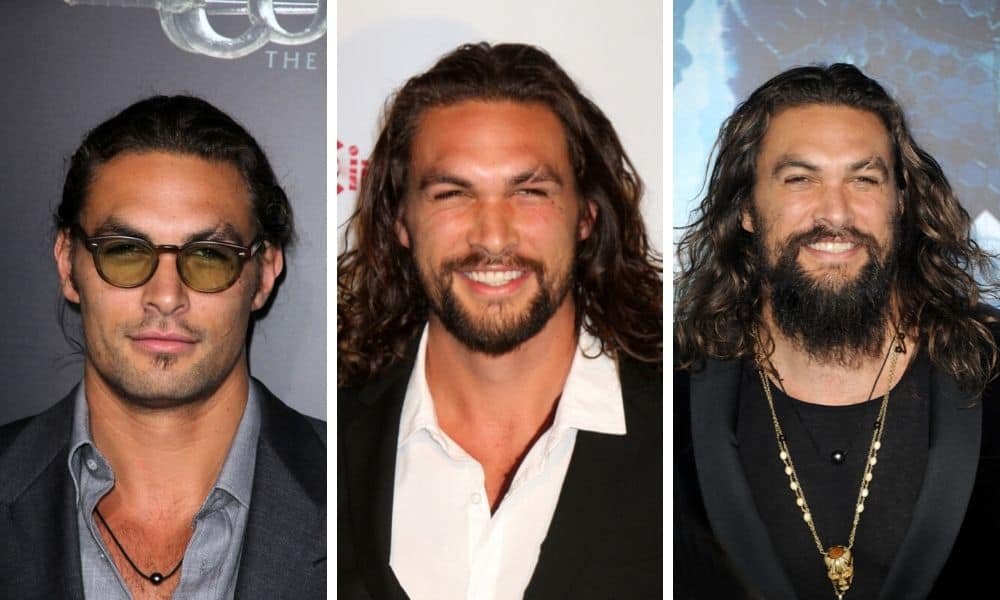 Jason Momoa with beard, with trim beard and with long beard