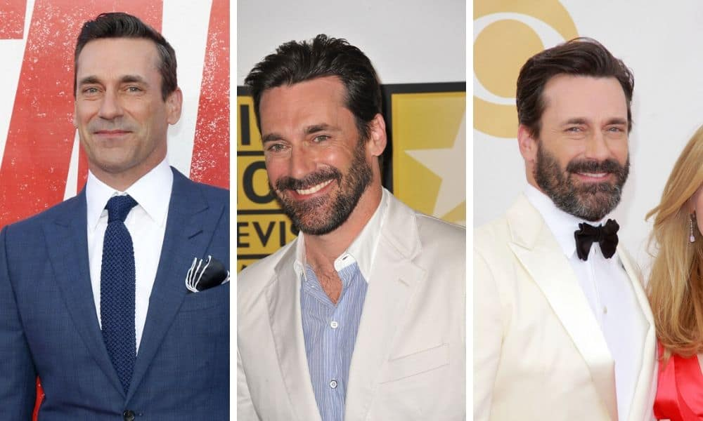 Jon Hamm with no beard and with beard comparison