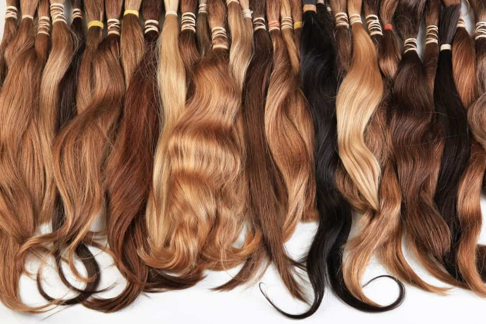 Hair extensions of different colors.