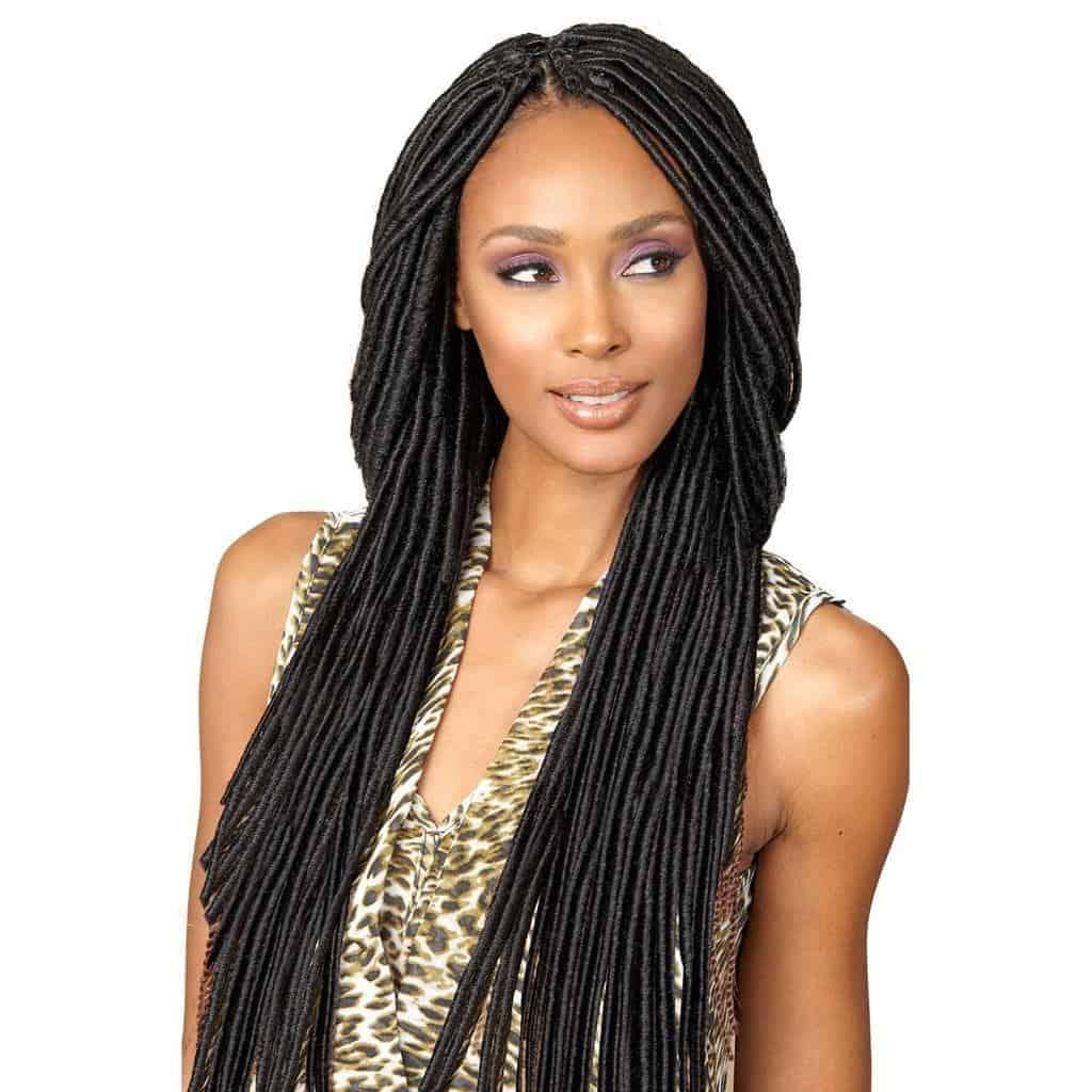 Woman with long crochet hair.