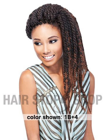 Woman with natural crochet hair.