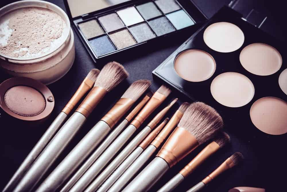 Professional makeup brushes and products