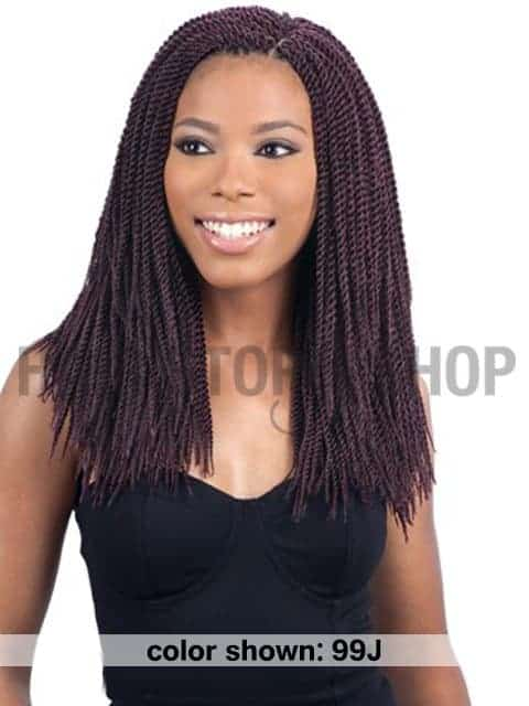 Woman with twisted crochet hair.
