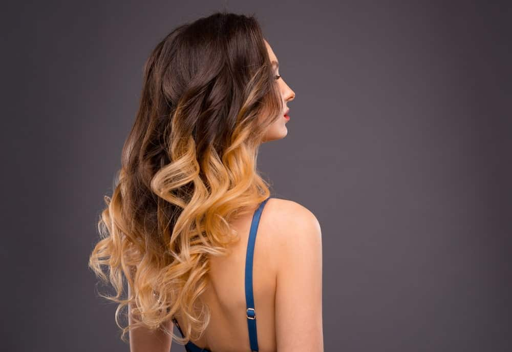Back of a woman's dual-colored dyed long hair.