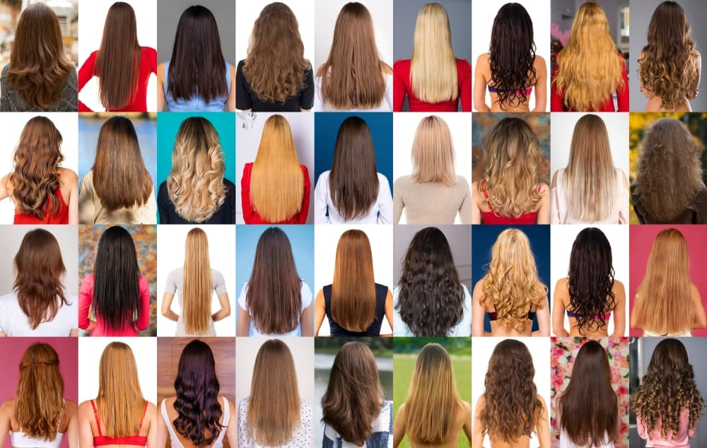 This is a photo collage depicting the different types of female hair.