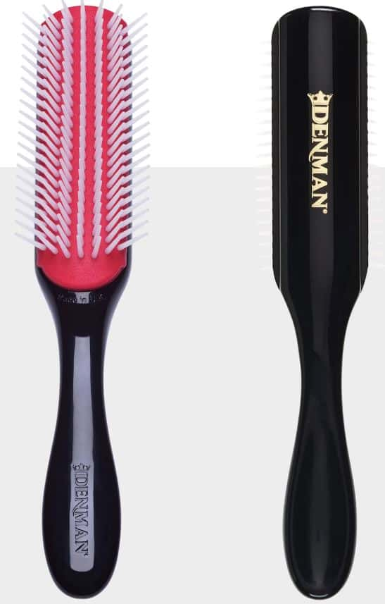 A view of the Denman Brush from the front and back.