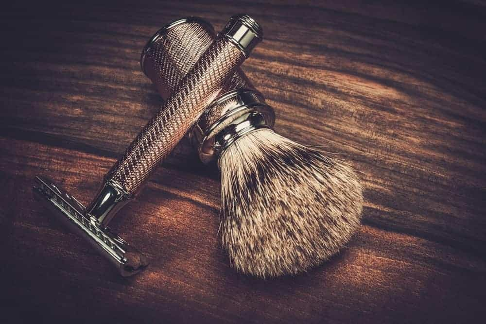 Vintage safety razor and shaving brush.