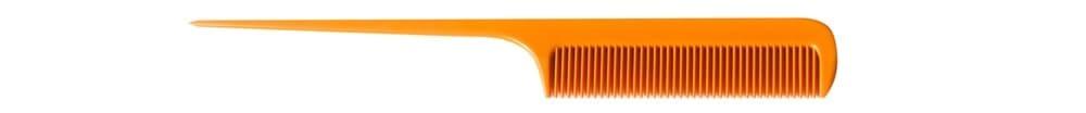 An orange plastic rat tail comb.