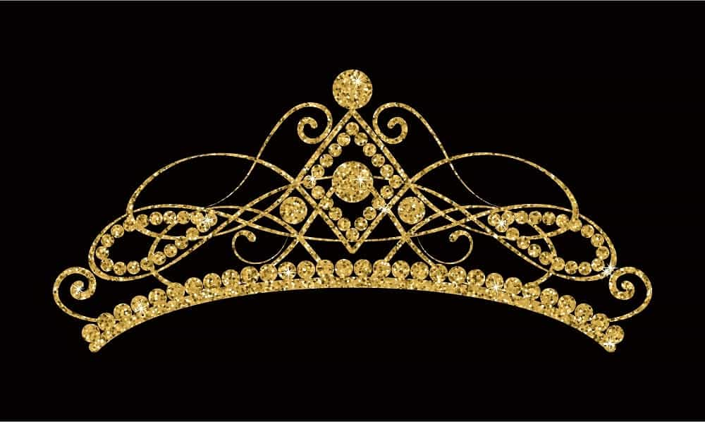 A close look at a golden tiara.