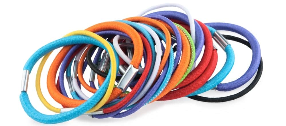 A look at a bunch of colorful hair ties.