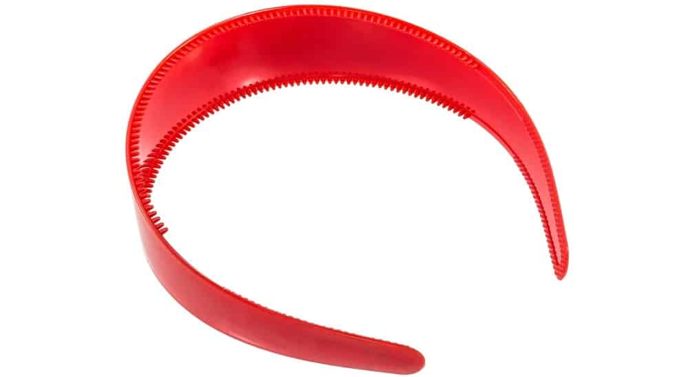 A close look at a red toothed headband.