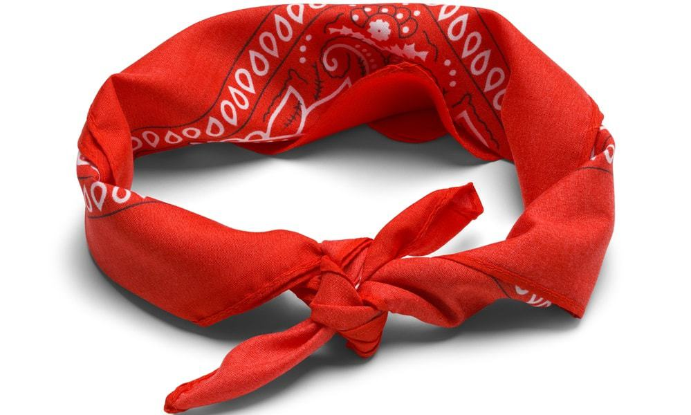 A close look at a red scarf headband.