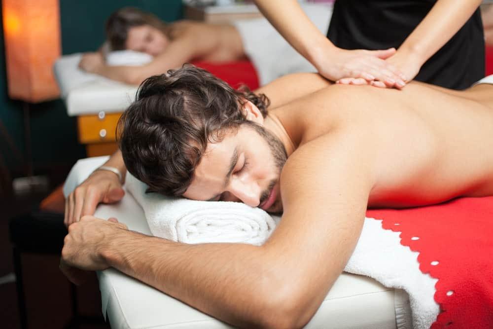A couple having a Swedish massage.