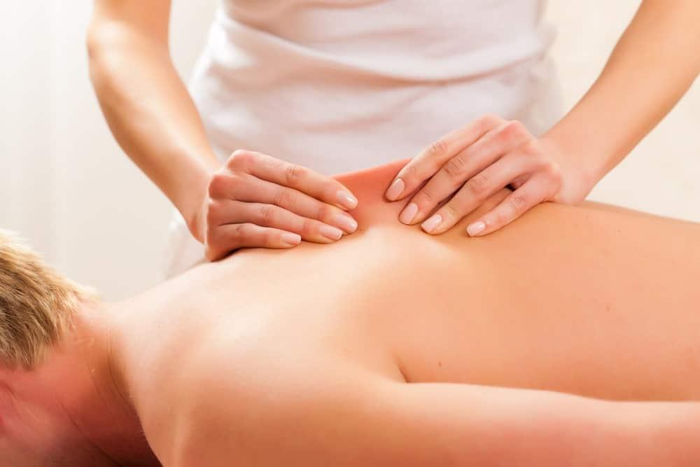A close look at a man having a lymphatic massage.